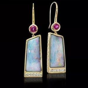 Moonstone 925 silver plated drop pierced earrings